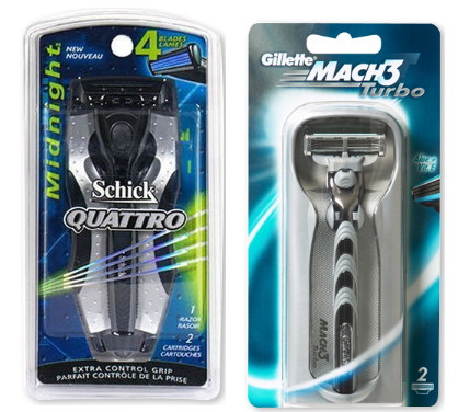 The Schick Quattro and the Mach 3